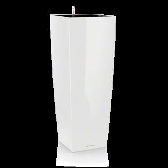 Ghiveci Lechuza cubico -ALTO 40x40x105 cm alb cu sistem udare