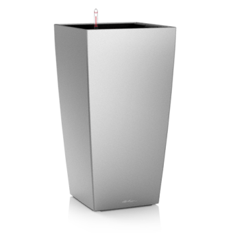 Ghiveci Lechuza cubico 22...50 cm argintiu cu sistem udare