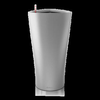 Ghiveci Lechuza delta 30 sau 40 cm argintiu cu sistem udare