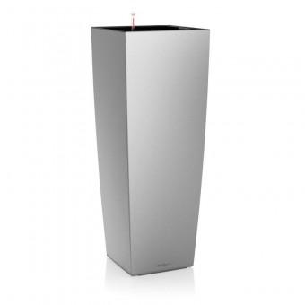 Ghiveci Lechuza cubico -ALTO 40x40x105 cm argintiu cu sistem udare
