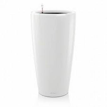 Ghiveci Lechuza rondo 32 sau 40 cm alb cu sistem udare