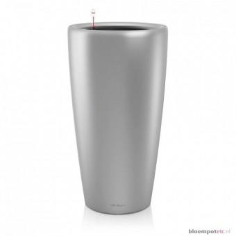 Ghiveci Lechuza rondo 32 sau 40 cm argintiu cu sistem udare